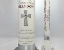 Personalized Baptism Candle Set - Custom sacrament candle - Christening candle set - Baby Dedication candle set - godparents candle