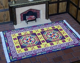 Miniature Rug for Dolls House, 15th Century Holbein, 1:12 Scale Carpet, Rug for Tudor Dollhouse,  UK Seller, Hand Stitched Petit Point Rug
