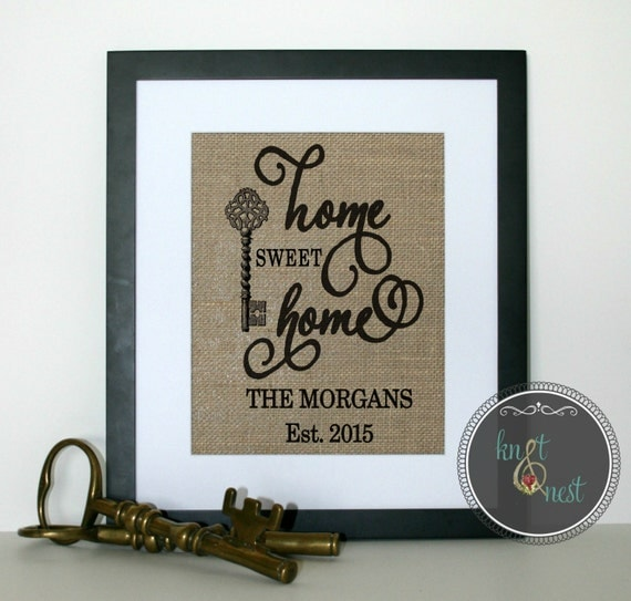 Handmade housewarming gift burlap personalized by knotnnest Best housewarming gifts for couples