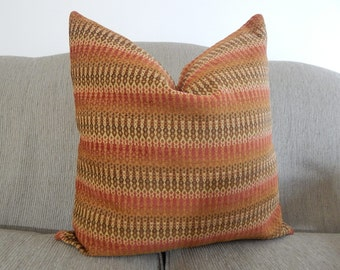 19x19 Pillow Cover,Throw Pillow,Decorative Pillow,Paprika, Taupe Brown ,Same Fabric on Front and back