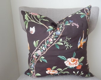 18 x 18 Gorgeous Dark Brown Throw Pillow Cover in a Floral Design
