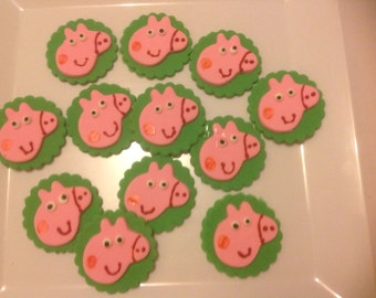 12 Fondant Peppa pig cup cake toppers.