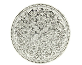 Metal Buttons - Mandala Silver Metal Shank Buttons - 23mm - 7/8 inch - 6 pcs