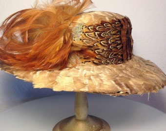 FREE  SHIPPING   1950's  Large  Brim  Hat