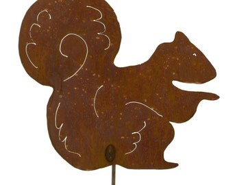 Sitting Squirrel Metal Garden Stake ,Yard Art GS42