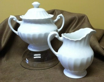 Vintage English J and G Meakin Ironstone Cream and Sugar Set; classic white