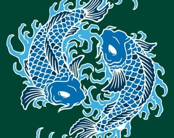 Koi Fish Asian Wall Decal, Koi Fish Artwork, Asian Koi Fish Wall Sticker, Koi Fish Wall Poster, Abstract Wall Art, Abstract Fish Wall Decor