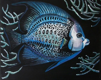 Angelfish tempera on paper prepared with acrylic background, original painting