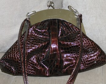SALE:  Vintage Nicole Lee Collection Purse w Stainless Steel Frame & Closure, Fake - Real Alligator Leather, Adjustable Strap, Unique