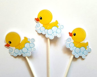 Rubber Ducky in Bubbles Cupcake Toppers, Rubber Duck Cupcake Toppers