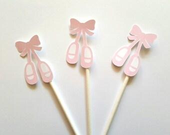 Ballerina Birthday Ballet Slipper Cupcake Toppers