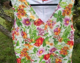 RETRO SUNNY FLORALS Sundress,  Handmade Lg to Ex Lg