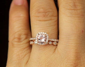 Kylie B & Lucy B Set - Morganite and Diamond Halo Engagement Ring and Diamond Wedding Band in Rose Gold, Free Shipping