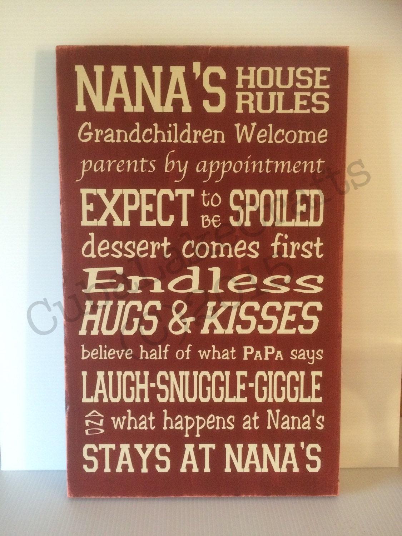 Nana S House Rules Home Decor Wood Sign Wall Hanging