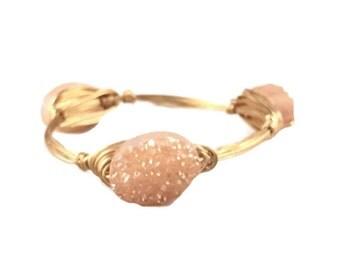 The Georgia Peach Bauble || Peach Druzy Oval Bauble Bracelet