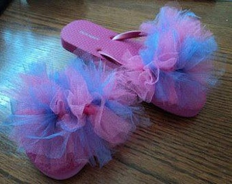 Pink and purple tulle puff flip flops