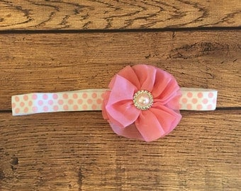 Coral Pink and White Ballerina Flower Headband