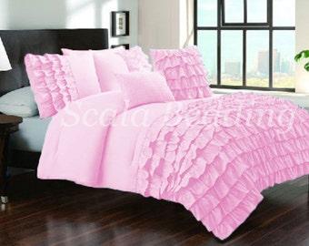 100%Egyptian Cotton 800 TC Pink Half Ruffle Duvet Cover Set Select Size