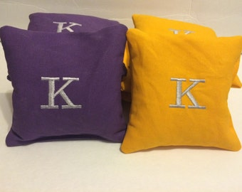 Embroidered Cornhole Bags -  Monogrammed Initial Corn hole Bags Wedding Bags Baggo Bean Bag Toss set of 8 bean bags