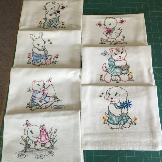 embroidery designs kitchen towels machine embroidered flour sack dish towel set 7 towels 7053