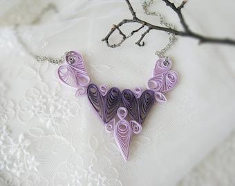 Paper Heart  Necklace, Paper Jewelry, Wedding Anniversary Gift, Heart Necklace, 1st Paper Anniversary, Heart Jewelry,purple jewelry