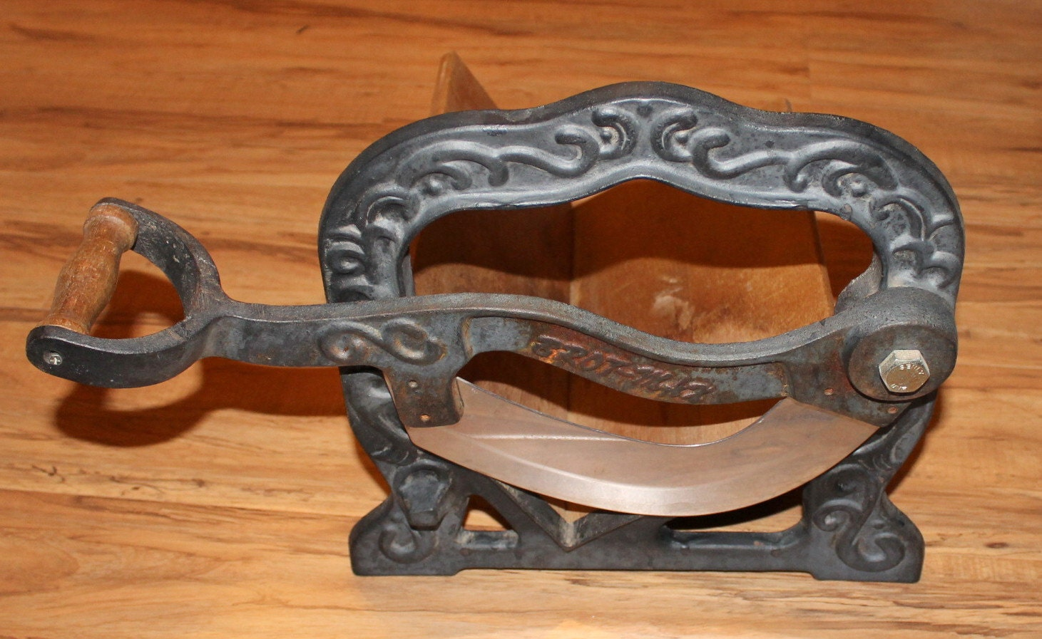 Vintage cast iron guillotine cutter slicer bread cheese meat