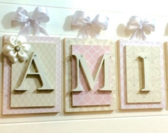 Nursery letters, Pink and Cream Nursery Ideas, Pink and Cream Nursery Letters, Elegant Nursery, Glenna Jean Nursery, Hanging Wall Letters