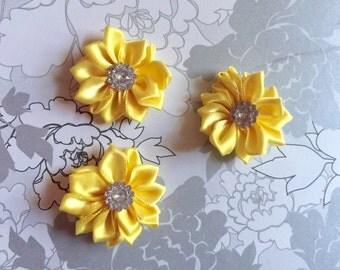 "1.5"" Yellow-Mini Satin Flowers  with Rhinestone Center - 3 Pieces-Baby Headband-Girl-Applique-Brooch-Clippie"