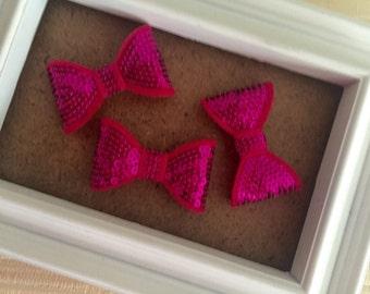 "2"" Magenta Sequin Bow Appliqué- 3 Pcs -Hair Bow Embellishment-Headband-ClippiesS-parkly Bow-Shinny bow-Small Bow-Supply-Craft"