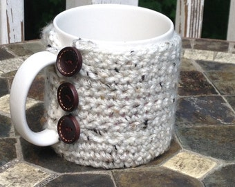 Cup Cozy Crochet in natural tones
