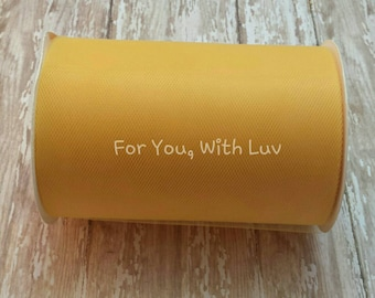 Golden yellow tulle roll, 100 yards golden yellow tulle spool of 6 inches wide high quality golden yellow tulle fabric.