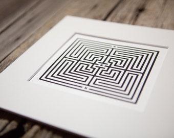 Labyrinth Maze Puzzle – 8x8 Art Prints