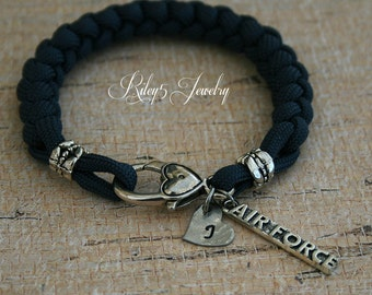 Air Force Paracord Bracelet  - Air Force Mom - Air Force Wife - Air Force Girlfriend - Heart Initial hand stamped Womens Jewelry