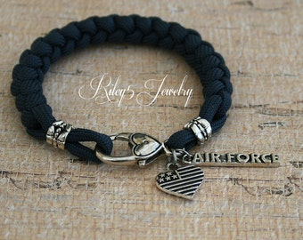 Bracelet Air Force Wife  / Air Force Girlfriend / Air Force Mom I love my Military Soldier Paracord bracelet Jewelry