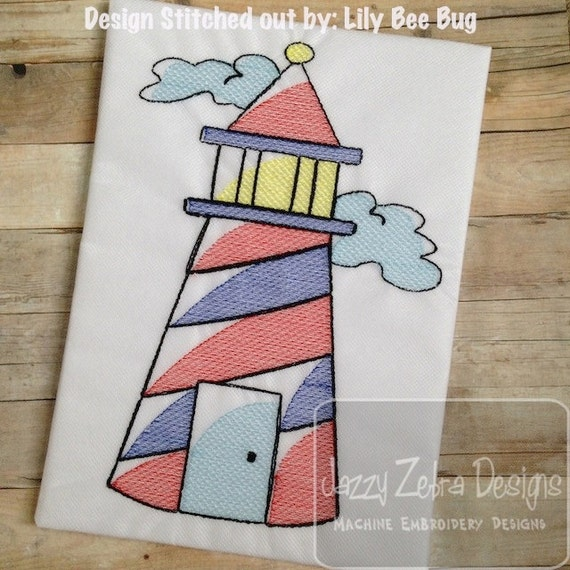 Lighthouse Sketch Embroidery Design - beach Sketch Embroidery Design - summer Sketch Embroidery Design - nautical Sketch Embroidery Design