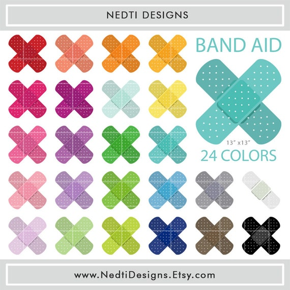 Items similar to 24 Band Aid Clipart Set 2, Printable ...