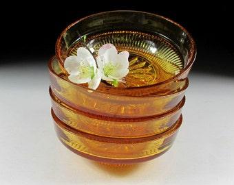 Set of Four Golden Yellow Glass Bowls