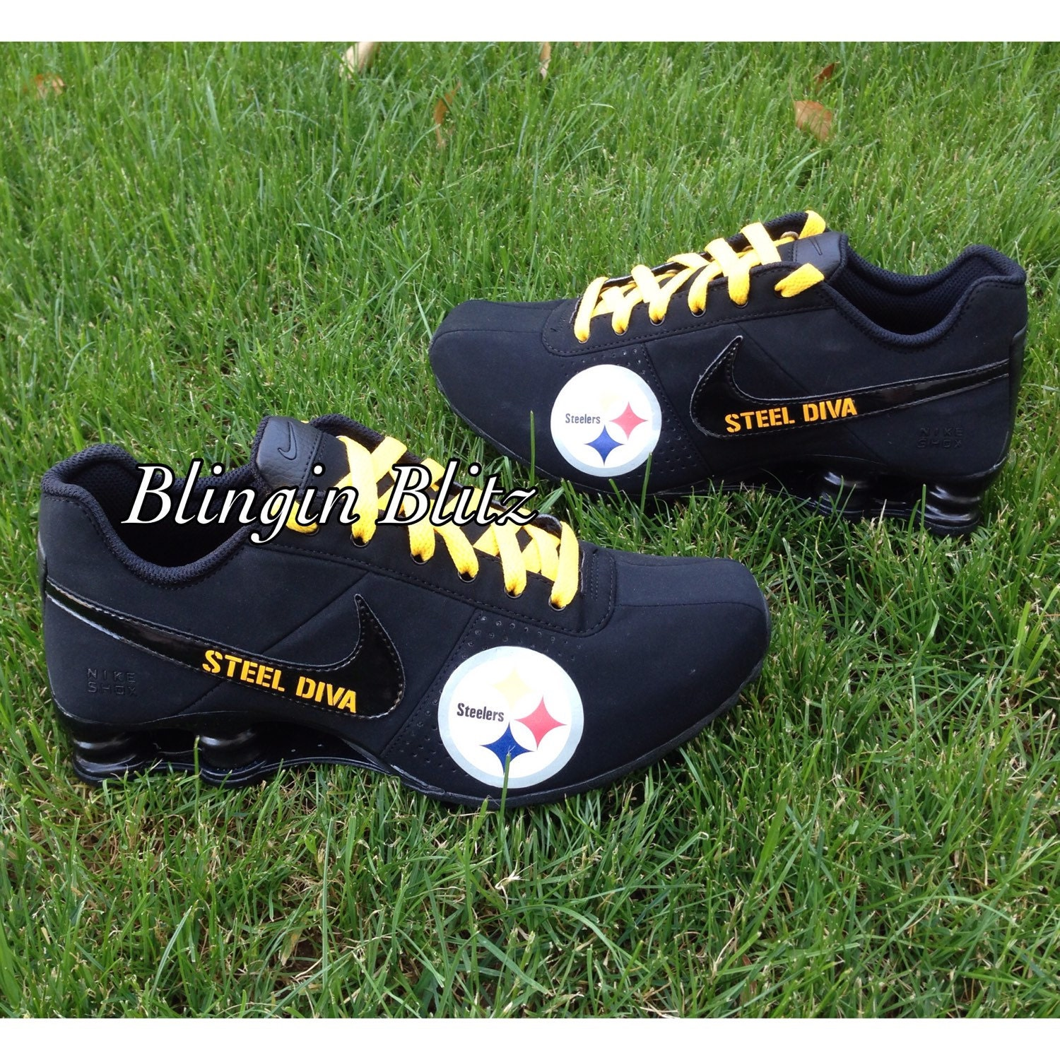 f56d5fdf614029 ... custom pittsburgh steelers nike turbo shox team shoes ... custom  alabama nike shox . ...