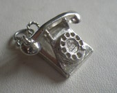 Reduced Sale Vintage Sterling Silver Old Fashion Telephone Charm Pendant CHIM