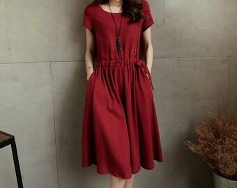 Tunic dress / Fashion dress / Long dress / Short sleeve dress