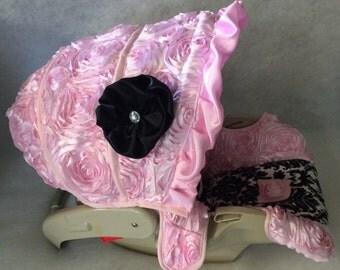 4 PC Custom Infant Car Seat Cover, Boutique Infant Car Seat Cover