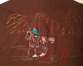 Western Shirt by Rocking Rancher with Indian embroidery at back.  Chief / Cowboy