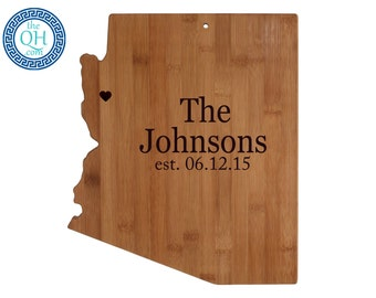Arizona State Shaped Cutting Board Personalized Wedding Moving New Home House Housewarming Host Hostess Unique Gift