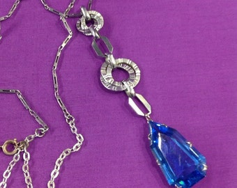 upcycled deco blue chrome necklet
