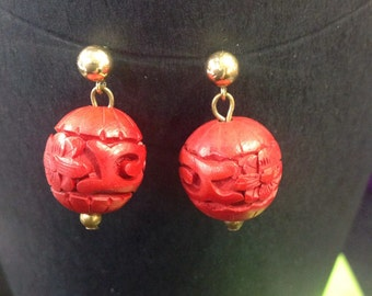 Cinnabar red bead earrings