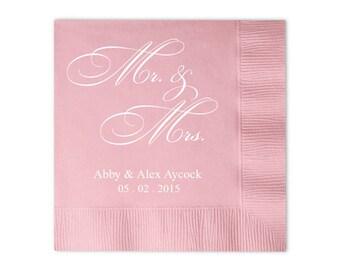 100 Personalized Mr & Mrs Mr and Mrs Wedding Napkins Custom Monogram Printed Napkins