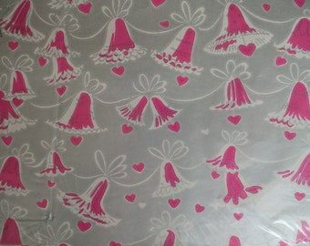 Vintage Wedding Gift Wrapping Paper - Vintage Wedding Gift Wrap - Pink and Silver Vintage Wedding Gift Wrap - Pink Wedding Bells Gift Wrap