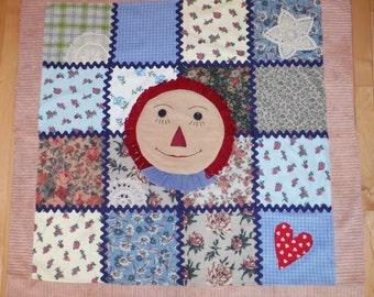 Raggedy Anne Patchwork Blanket, Raggedy Anne Patchwork Quilt, Primitive Raggedy Anne Bedding, Raggedy Ann Bedding
