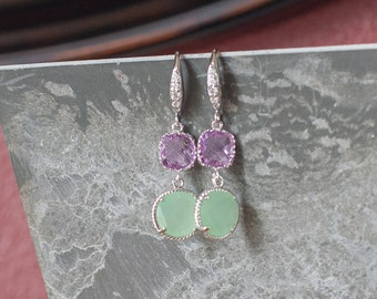 Purple bridesmaid jewelry lavender bridesmaid earrings mint green dangle earrings bridal earrings mint green bridesmaid jewelry