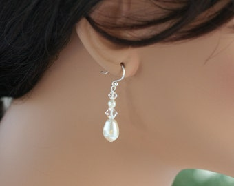 Swarovski pearl earrings wedding jewelry bridesmaid jewelry set of bridesmaid pearl earrings pearl bridal jewelry pearl bridesmaid gifts